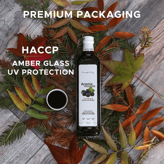 PREMIUM PACKAGING Made according to the standards of General Principles of Food Hygiene including HACCP. Our juice is stored in double insulated glass amber bottle to prevent UV degradation of nutrients.