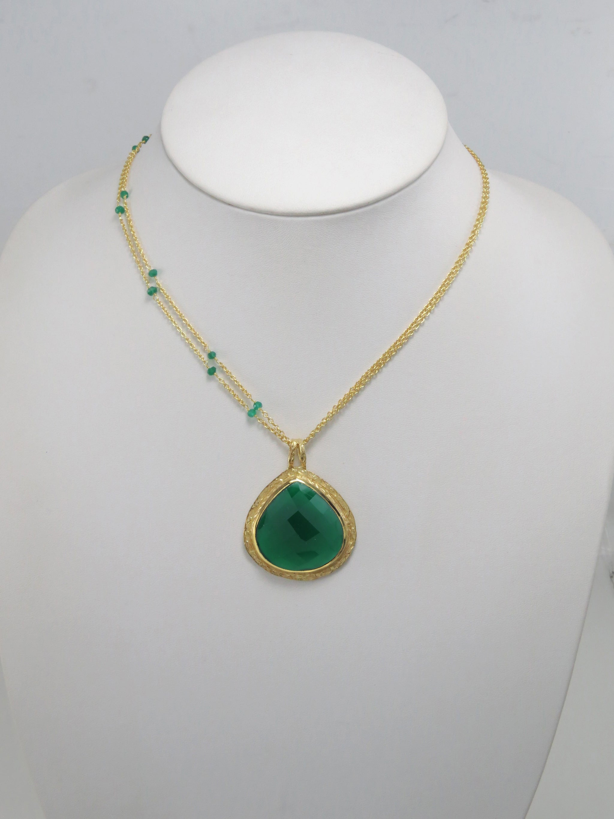 necklace big chunky jewelry brass green stone brown pin