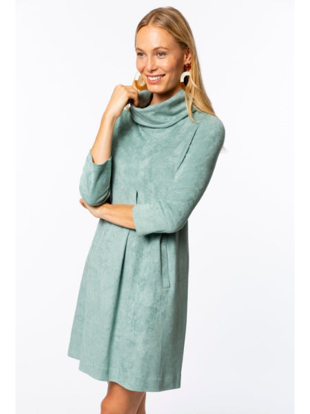 Kim Faux Suede Dress - Turquoise