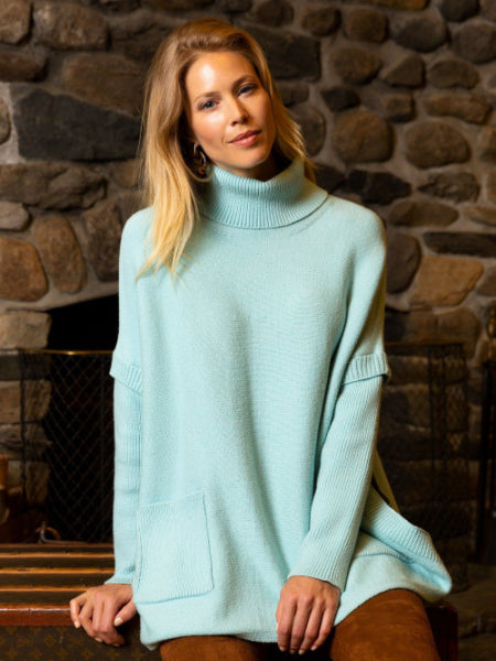 Oversized Turtleneck Sweater - Beryl Blue