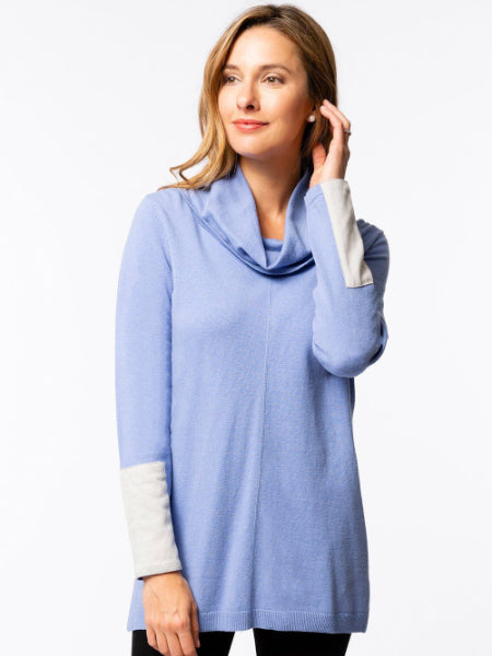 Cotton Cashmere Cowl Neck Tunic - Oxford
