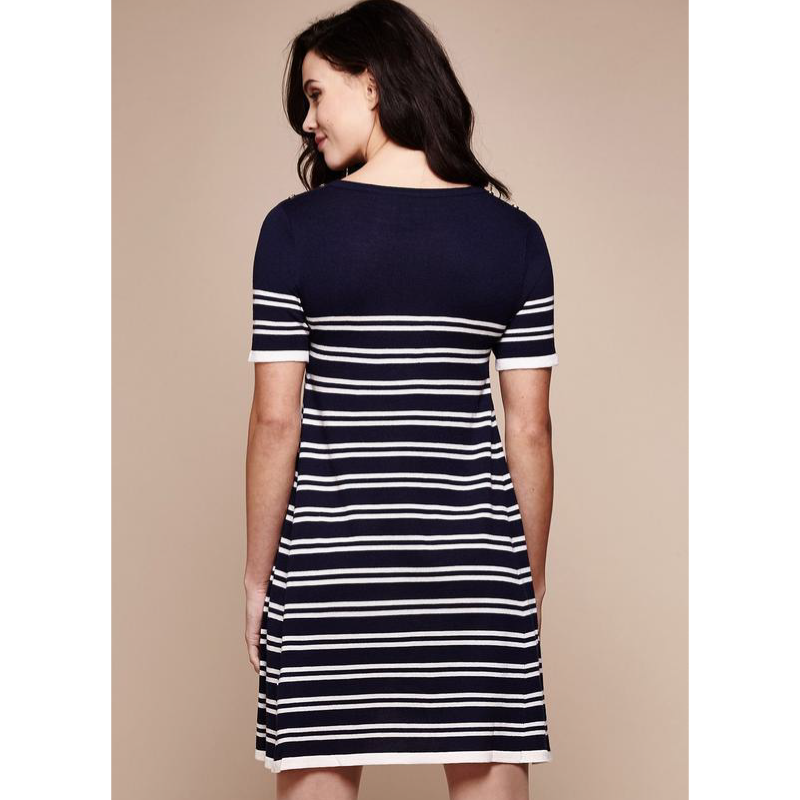 Knit Striped Swing Dress - Navy