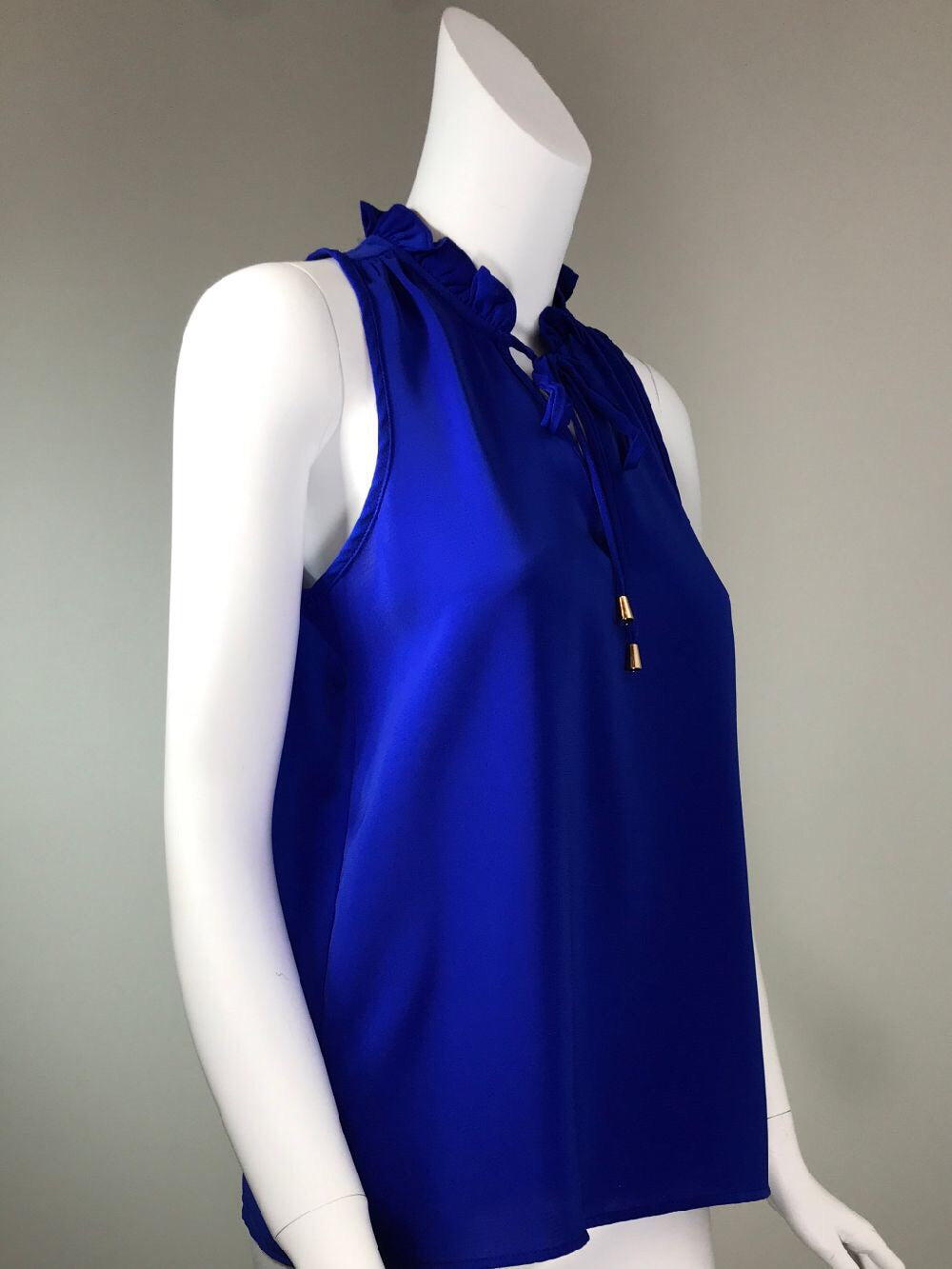 Ruffle Neck Sleeveless Top - Royal