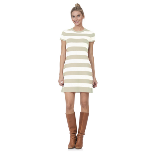 Cap Sleeve Striped Sweater Dress - Cream