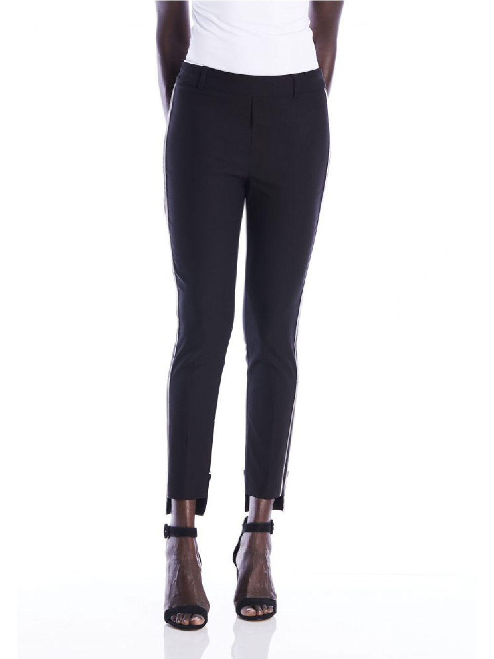 The Brooklyn Pant - Black With White Piping