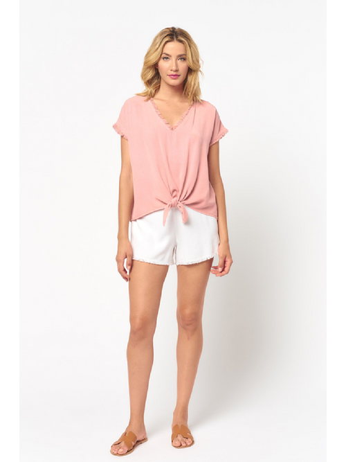 Short Sleeve Fray Tie Knot Top - Misty Rose