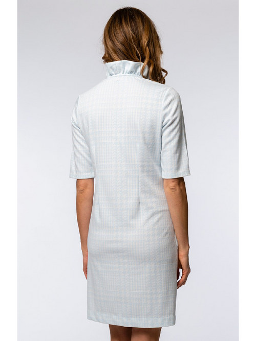 Constance Jacquard Ruffle Collar Dress - Houndstooth Plaid Seascape White