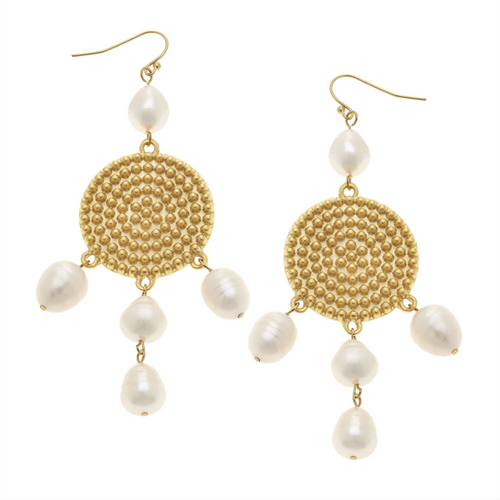 Handcast Gold Dotted Disc with Genuine Freshwater Pearl Earrings
