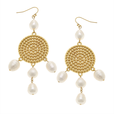 Magnesite, Marble, and Brass Earrings