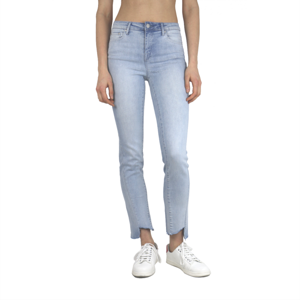 Asymmetrical Straight Leg Hi-Waist Ankle Crop - Denim
