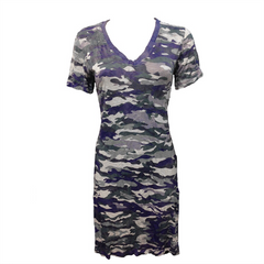 Crushed Camo V Neck Dress