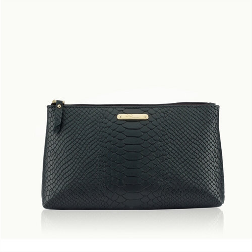 Large Cosmetic Case - Black Embossed Python