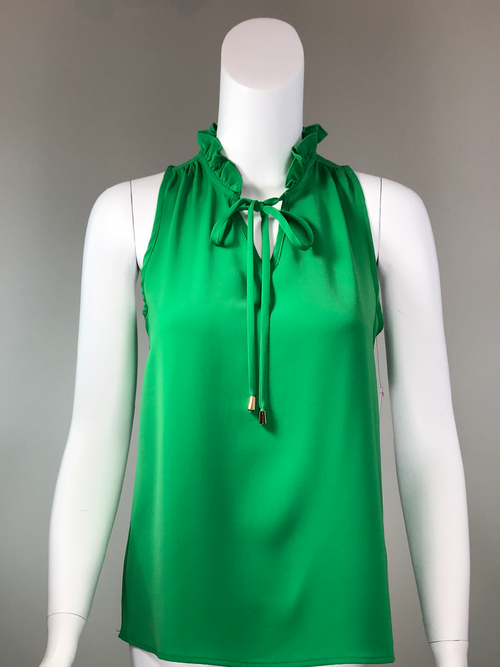 Ruffle Neck Sleeveless Top - Emerald Green
