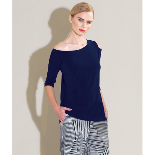 One Shoulder Top - Navy