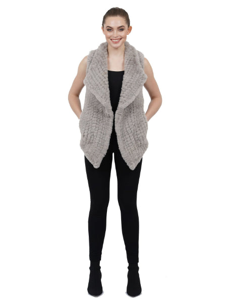Amy Faux Fur Ultra Plush Vest - Light Grey