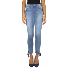 High-Waist Ankle Tie Skinny - Denim