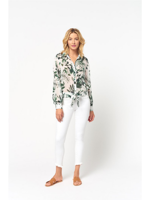 Tie Front Long Sleeve Top - Green