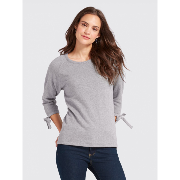 Solid Tie Sleeve Sweatshirt - Light Grey