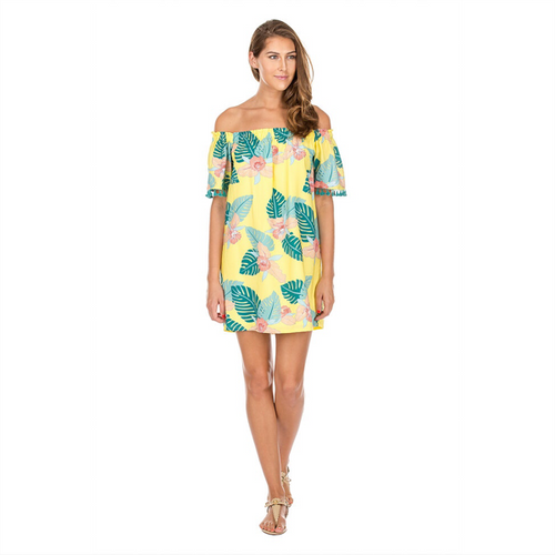 Tropical Off-Shoulder Dress