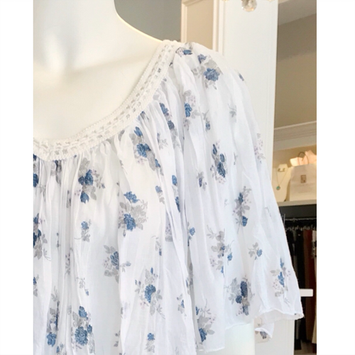 Printed Blue Floral Top