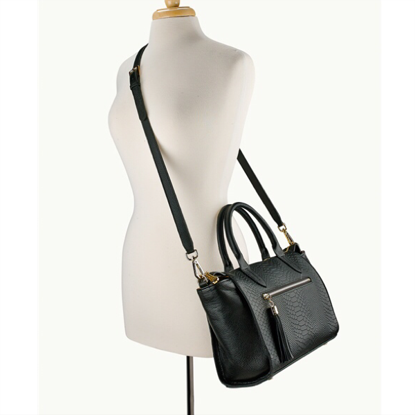 Grace Satchel - Black Embossed Python