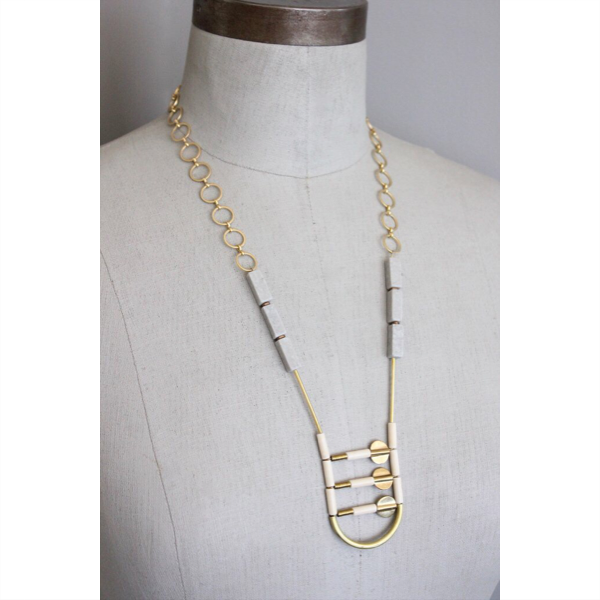 18K Gold Plated Marble, Magnesite, and Thai Brass Necklace