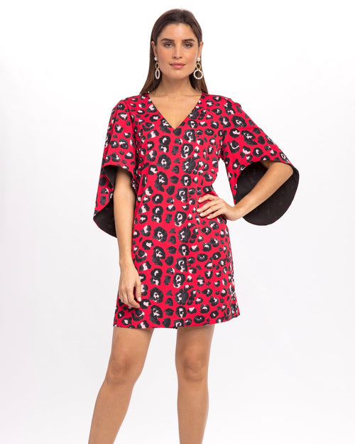 Meredith Dress - Red Animal Print