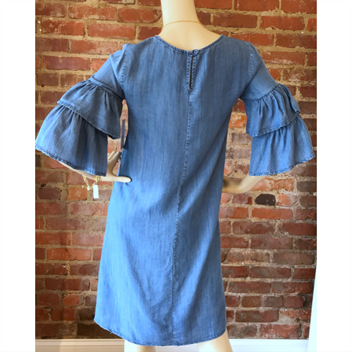 Tencel Ruffle Jean Dress - Blue