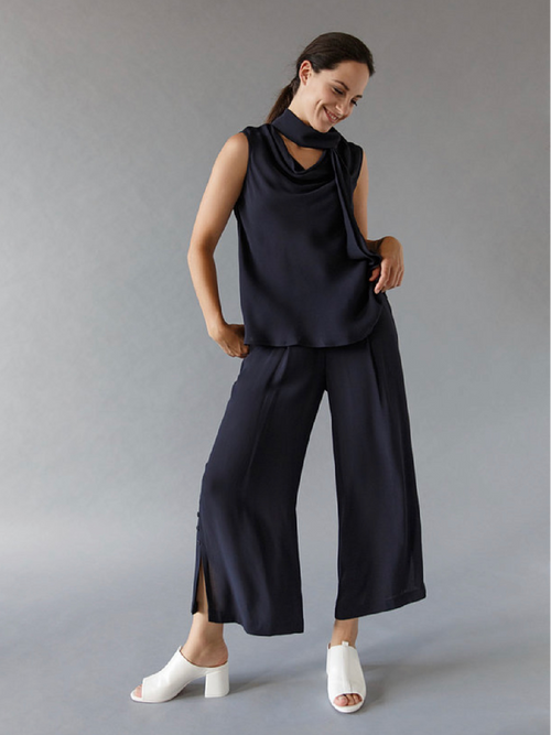 Sleeveless Cowl Neck with Tie Blouse - Navy
