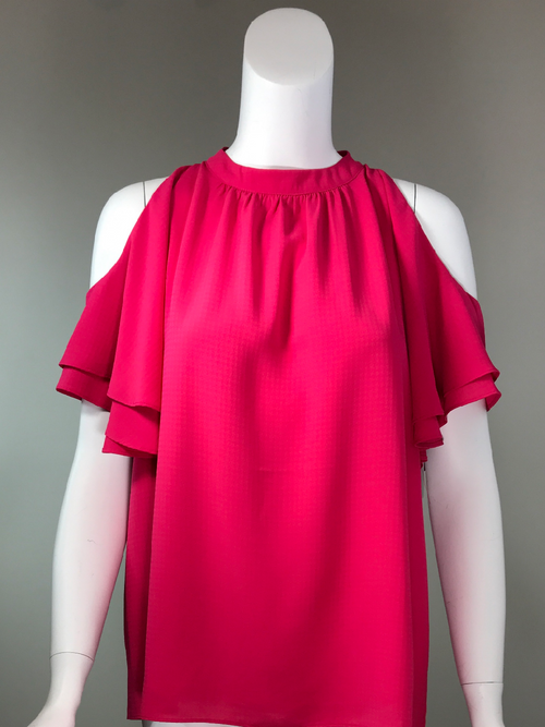 Cold Shoulder Top - Fuchsia