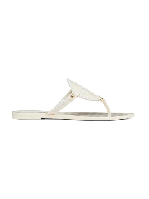 Gingham Georgica Jelly Sandal - Bone/White