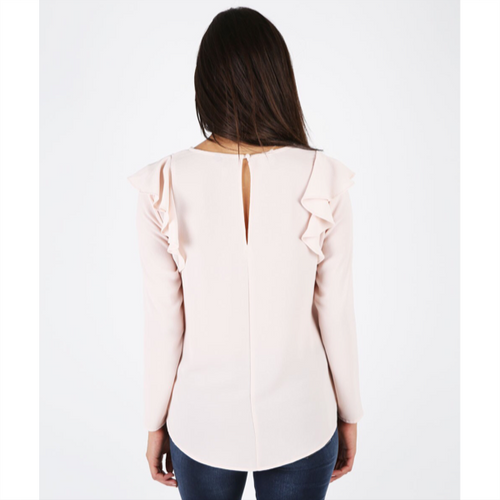 Maki Ruffle Shoulder Top - Nude