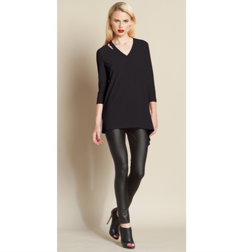 Open V-Neckline Tunic - Black