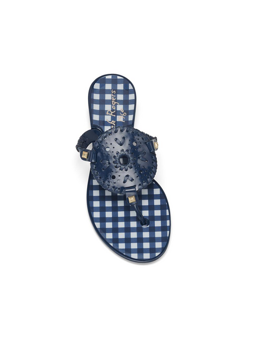 Gingham Georgica Jelly Sandal - Midnight/White