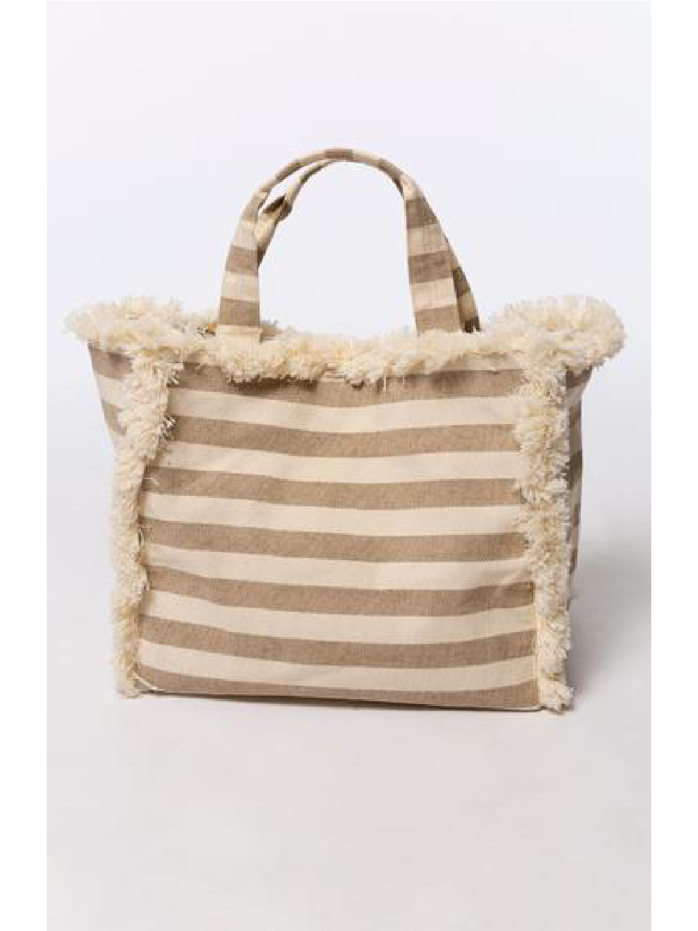 Fringed Tote - Tan White