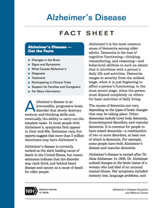 Alzheimer's Disease Fact Sheet (NIH)