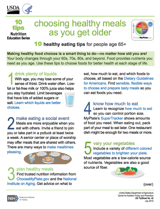 Choosing Healthy Meals As You Get Older (NIH)