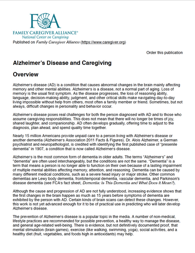 Alzheimer's Disease and Caregiving | Family Caregiver Alliance