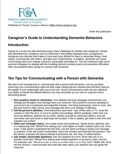 Caregiver's Guide to Understanding Dementia Behavior | Family Caregiver Alliance