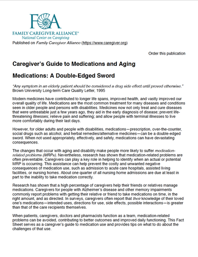 Caregiver's Guide to Medications and Aging | Family Caregiver Alliance
