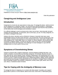 Caregiving and Ambiguous Loss | Family Caregiver Alliance