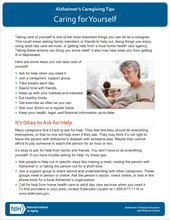 Caring for Yourself: Alzheimer's Caregiving Tips (NIA)