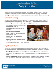 Daily Activities: Alzheimer's Caregiving Tips (NIA)