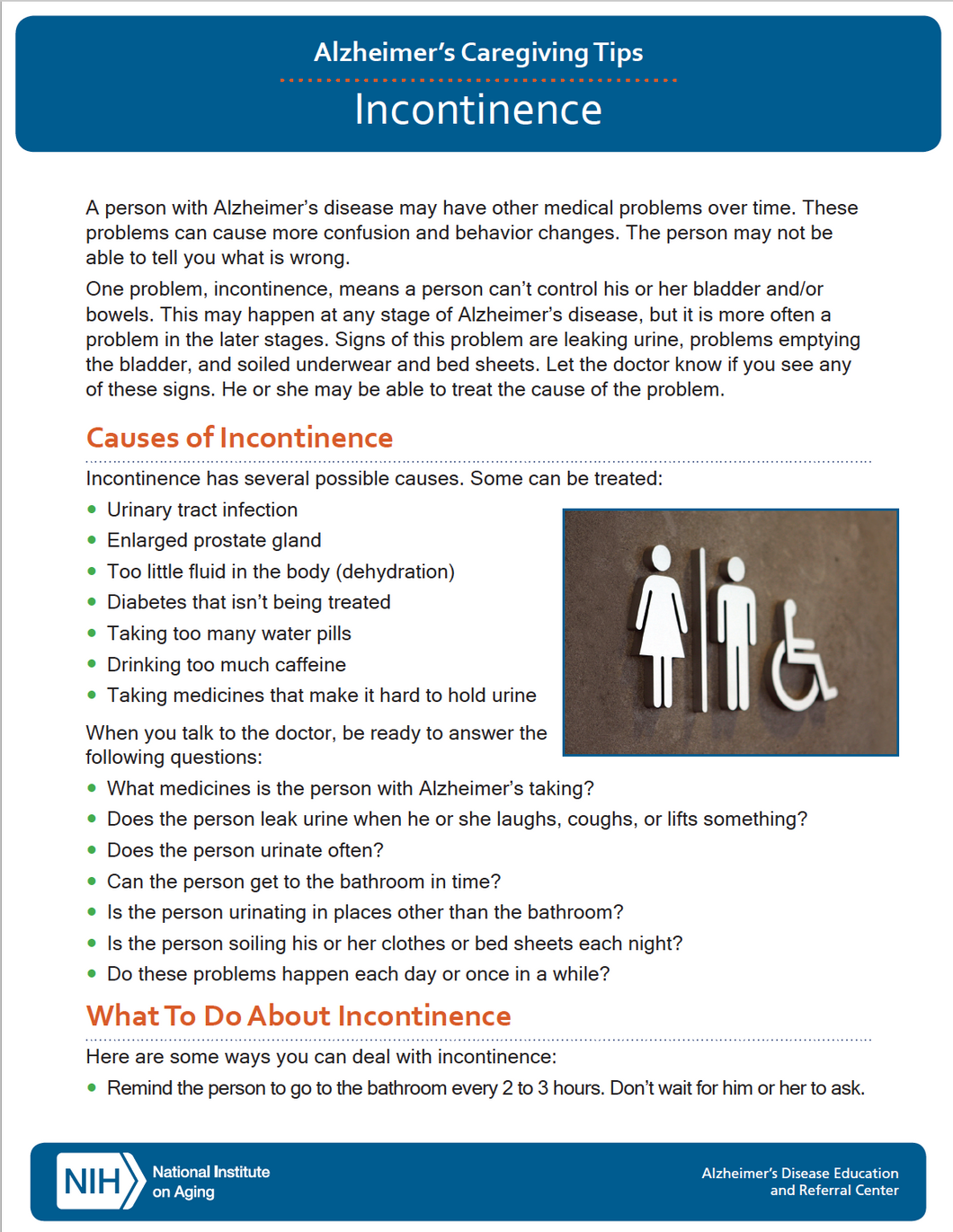 Incontinence: Alzheimer's Caregiving Tips (NIA)