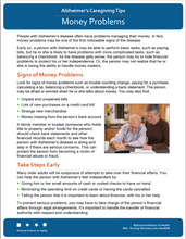 Money Problems: Alzheimer's Caregiving Tips (NIA)