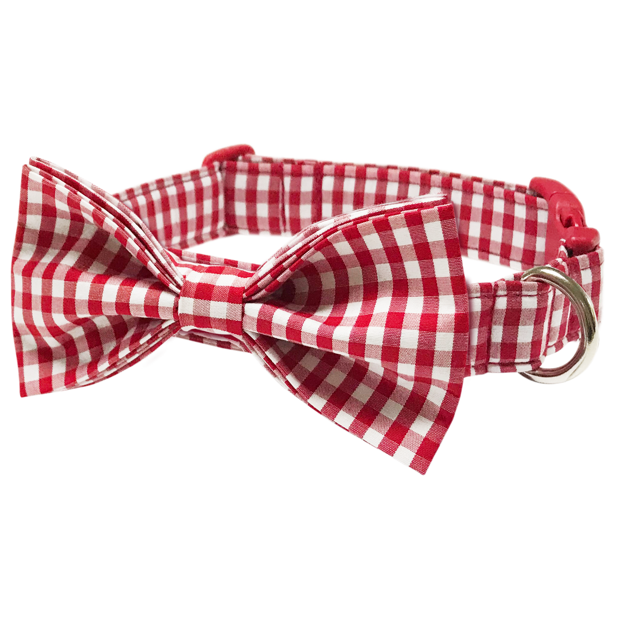 Unisex Classic Red Summer Buffalo Checker Plaid Dog Collar with Bowtie