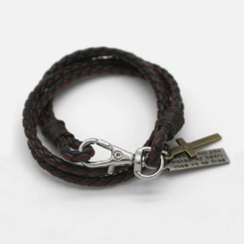 Hand-woven Rope Leather and Cross Bracelet with Scripture