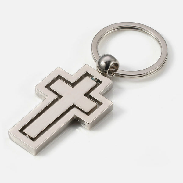 Rotatable Metal Cross Keychain