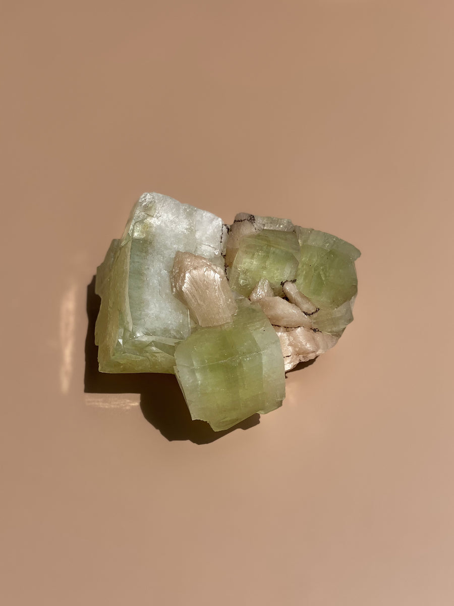 Green Apophyllite and Stilbite Cluster