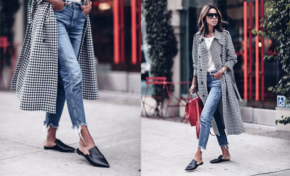 Shop the Look - Frayed Jeans, Mules and a Check Coat